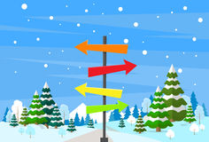 Hiver Forest Landscape Sign Direction Way Photos stock