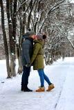Hiver hétérosexuel de promenade de rue de couples photo libre de droits