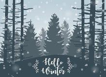 Hiver heureux avec Forest Landscape Background illustration stock