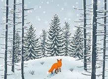 Hiver heureux avec l'animal de Forest Landscape et de renard illustration stock