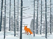 Hiver heureux avec l'animal de Forest Landscape et de renard illustration de vecteur