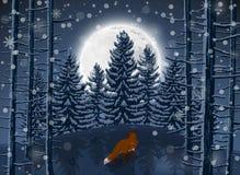 Hiver heureux avec la soirée Forest Landscape et l'animal de renard illustration de vecteur