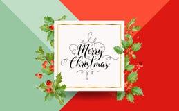 Hiver Holly Berry Banner de Noël, fond graphique, invitation de décembre, insecte ou carte Image libre de droits