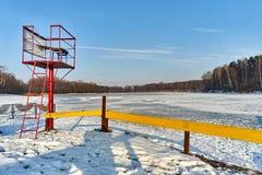 Hiver - lac congelé, Rogoznik, Pologne photographie stock