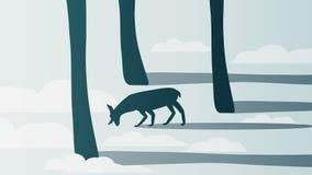 Hiver minimal Forest Scene avec le mâle - illustration de vecteur Images libres de droits