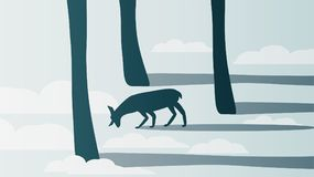 Hiver minimal Forest Scene avec le mâle - illustration de vecteur Illustration de Vecteur