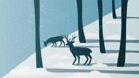 Hiver minimal Forest Scene avec le mâle près d'une rivière Illustration de Vecteur