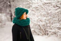Hiver, neige et fille Images libres de droits