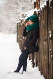 Hiver, neige et fille Photo libre de droits