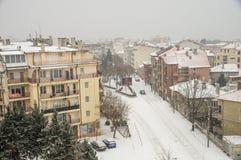Hiver, neige, vue supérieure sur Pomorie, Bulgarie Image stock