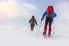 Hiver, paysage neigeux de montagne avec des randonneurs photos libres de droits