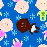 Hiver sans couture d'enfant de bébé de fond Photographie stock libre de droits