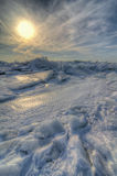 Hiver Sunries sur le lac Érié Images stock