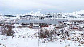 Hiver sur des îles de Lofoten, Norvège Photos libres de droits
