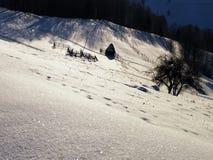 Hiver sur les collines Meule de foin et barrières Ombres le soir image libre de droits
