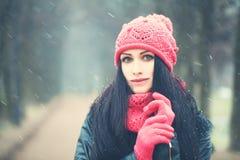 Hiver Windy Snow Portrait de femme dehors Images stock