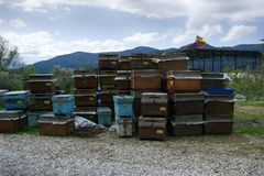 Hives and other beekeeping appliance for breeding bees. And obtaining honey, harvest honey. Beekeeping in Asia Minor, Turkey Royalty Free Stock Photography