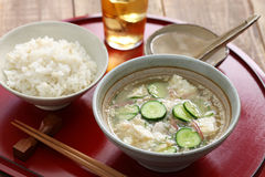 Hiyajiru( cold miso soup ) with barley rice Royalty Free Stock Photo