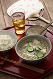 Hiyajiru( cold miso soup ) with barley rice Stock Images