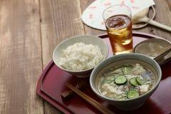 Hiyajiru (sopa de miso fria) com arroz da cevada Imagens de Stock