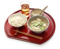 Hiyajiru (sopa de miso fria) com arroz da cevada Imagem de Stock