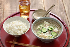 Hiyajiru( cold miso soup ) with barley rice Stock Photo