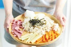 ` Hiyashi chuka ` De Japanse stijl gekoeld die ramen noedels en met vlees en groente wordt bedekt stock afbeelding