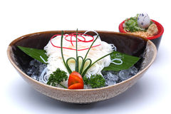 Hiyashi Somen , Japanese chilled noodles served with dipping sau Royalty Free Stock Image