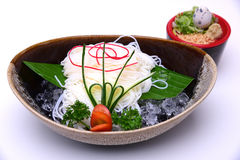 Hiyashi Somen , Japanese chilled noodles served with dipping sau. Ce ,  on white background with Clipping Path Stock Photos