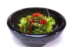 Hiyashi Wakame Chuka,海草沙拉用芝麻和tobiko isol 免版税图库摄影