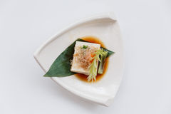 Hiyayakko : Cold Tofu Salad with Katsuobushi Dried, Fermented, and Smoked Skipjack Tuna Stock Photos