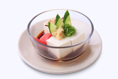 Hiyayakko, Japanese food mad by chilled tofu and toppings in gla Stock Photos