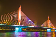 The HiYin Bridge in the evening of Guangzhou. Royalty Free Stock Images