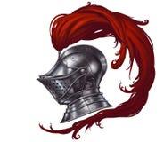 Hjälm av den medeltida riddaren stock illustrationer