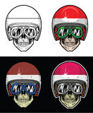 Hjälm för flagga för cyklistskalle indonesisk royaltyfri illustrationer