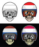 Hjälm för flagga för cyklistskalleNederländerna Fotografering för Bildbyråer