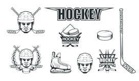 Hjälm för hockeyspelaren Yrkesmässig isillustration Skalle med hockeyhjälmen Is spelar logo Målvaktmaskering med pinnar stock illustrationer