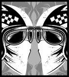 Hjälm med glasögonkaféracerbilen stock illustrationer