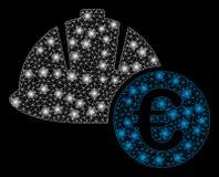 Hjälm och euro för ljust ingrepp 2D iscensätta med signalljusfläckar stock illustrationer