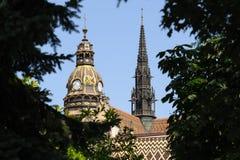 Hjälm och torn för St Elisabeth Cathedral royaltyfri foto