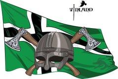 Hjälmen av en Viking korsade stridyxor på bakgrunden av flaggan av Vinland Royaltyfria Bilder