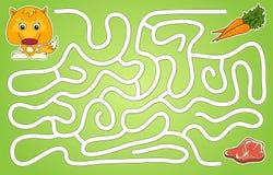 Hjälp en räv att passera till och med en labyrint och att finna kött Arkivfoto