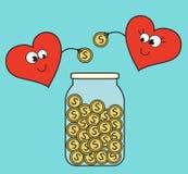 Hjälp för två hjärtor med pengar Royaltyfria Bilder