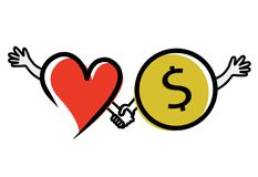 Hjälp för två hjärtor med pengar Arkivfoton