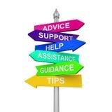 Hjälp för vägledning för rådgivning för spetsar för hjälp för teckenriktningsservice royaltyfri illustrationer