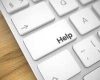 Hjälp - inskrift på den vita tangentbordknappen 3d Royaltyfria Foton