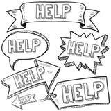 Hjälp meddelandebaner, etiketter och etiketter Arkivbilder