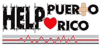 Hjälp Puerto Rico Banner 2 Royaltyfri Illustrationer