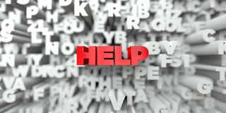 HJÄLP - Röd text på typografibakgrund - 3D framförde fri materielbild för royalty royaltyfri illustrationer