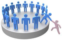 Hjälp sammanfogar upp socialt affärsfolk Arkivbild